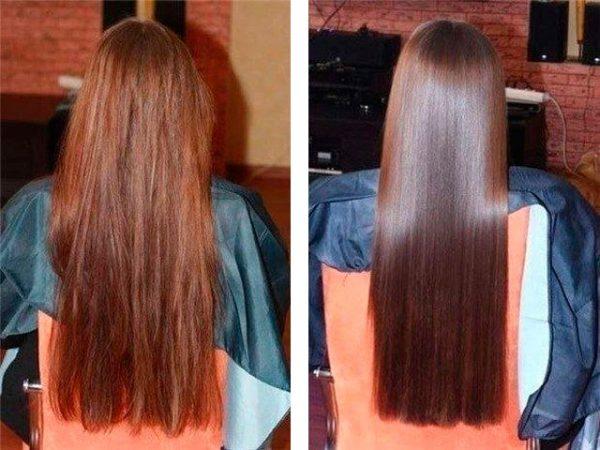Сухие волосы до и после использования масок с репейным маслом