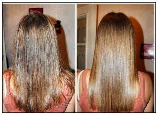 Жирные волосы до и после использования масок с репейным маслом