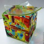 Квадратная стеклянная аромалампа с мозаичным узором